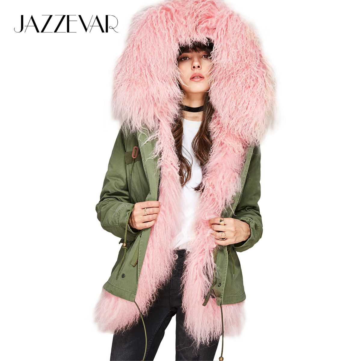 JAZZEVAR New 2018 Winter Fashion Women's lambskin lamb fur mini parka Luxurious mongolia sheep fur Hooded Coat Outwear Jacket
