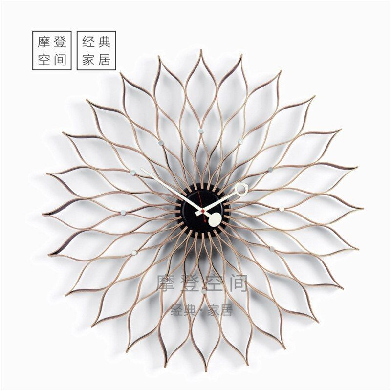 2018New Arrival ShenZhen Manufacturers of professional Nordic Style Modern Fashion Sunflower wall clock/wooden clock DIA75cm