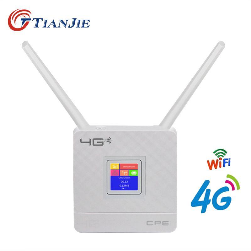 TIANJIE 4G wifi routeur CPE double antennes débloqué 4g modem wifi routeur sans fil Modem SIM carte Slot WAN LAN RJ45 Port