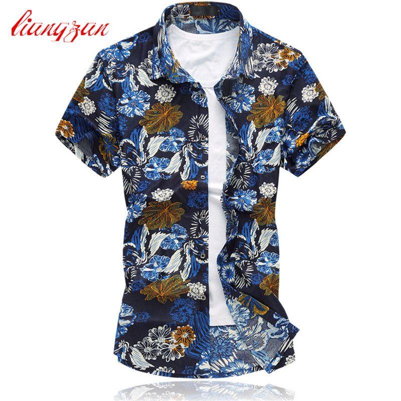 Men Pinted Shirts Brand Summer Short Sleeve Plus Size 5XL 6XL Social Mercerized Cotton Dress Shirts Camisetas Masculinas F2192