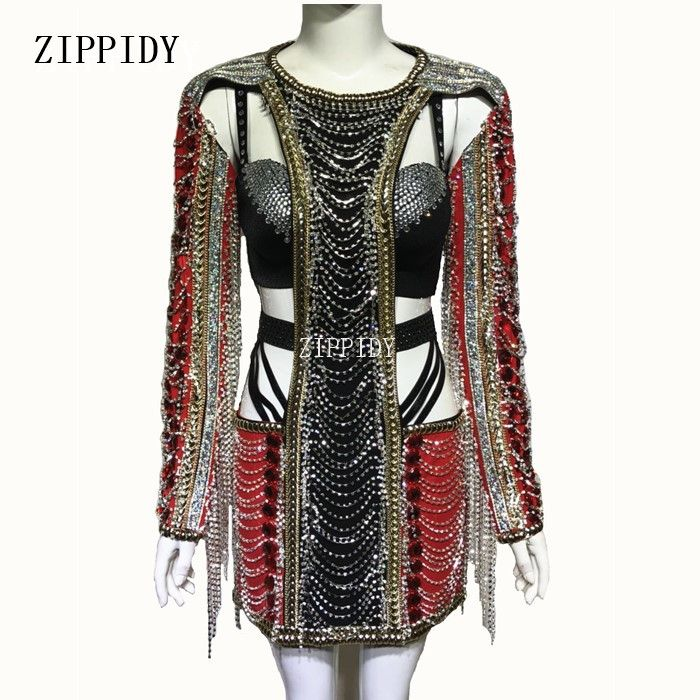 Sparkly Crystals Black Red Rhinestones Dress Sexy Stage Wear Chains Design Costume Female Singer Performance Outfit
