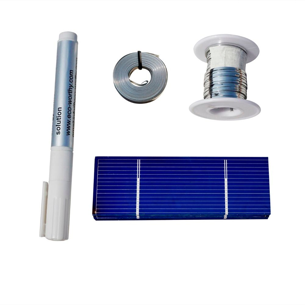 ECO-WORTHY 20pcs 78x26mm Solar Cell & 52' Tab Wire 10' Bus Wire 1pc Flux Pen for DIY Kit