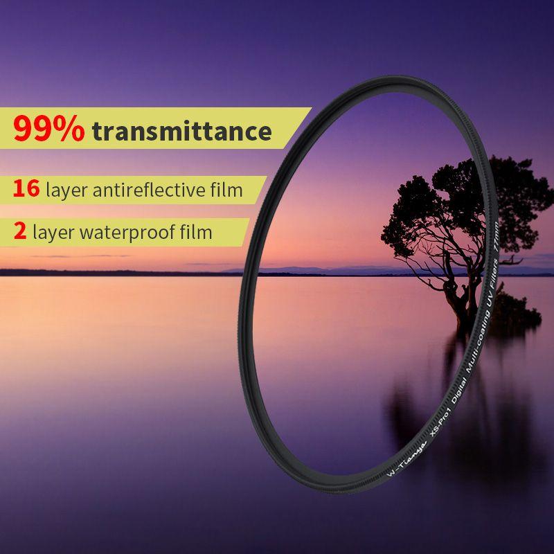 WTIANYA MRC UV filtre 67 77 m 18-couche multi-revêtement UV ultra-mince 37 43 40.5 39 46 49 52 58 62 72 82mm étanche mcuv filtre