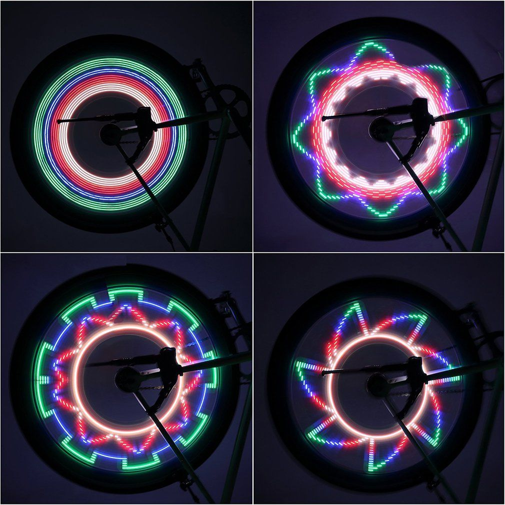 Hot 2 Side LED 32 Mode Bike Spoke Warn Light Waterproof Bicycle Wheel tyre light Signal Lamp Reflective Rim Rainbow Tire Fixed