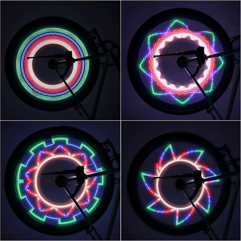 Hot 2 Side LED 32 Mode Bike Spoke Warn Light Waterproof Bicycle Wheel tyre light Signal Lamp Reflective Rim Rainbow Tire Fixed