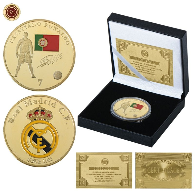 WR Famous Soccer Player Cristiano Ronaldo Gold Coins Collectibles Real Madrid C.F Football Star Gold Plated Coin for Fans Gifts