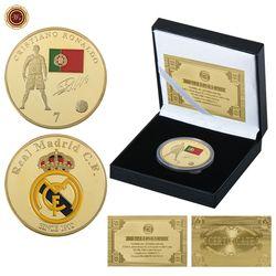 WR oro plateado Real Madrid Cristiano Ronaldo Para monedas originales caja Collectibles 2018 Rusia Copa del Mundo fútbol Fans regalos