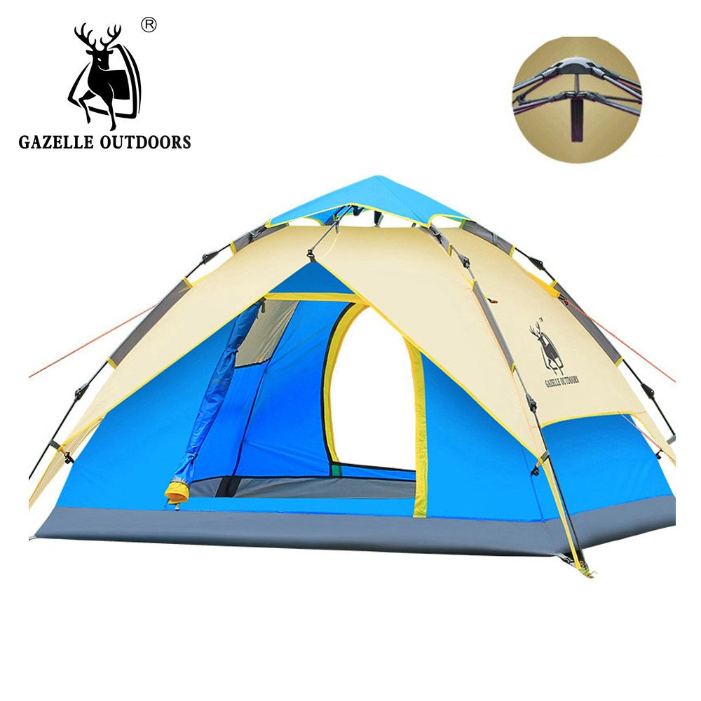 GAZELLE Camping Tent 3-4 person Tents Hydraulic automatic Waterproof Double Layer Tent Ultralight Outdoor Hiking Picnic tents