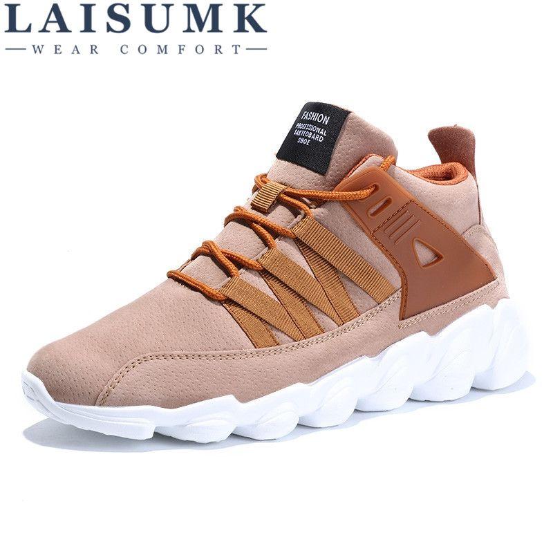 2018 LAISUMK Winter New Style Men Casual Shoes Lace-Up Comfortable Fashion Men Shoes High quality suede flat shoes