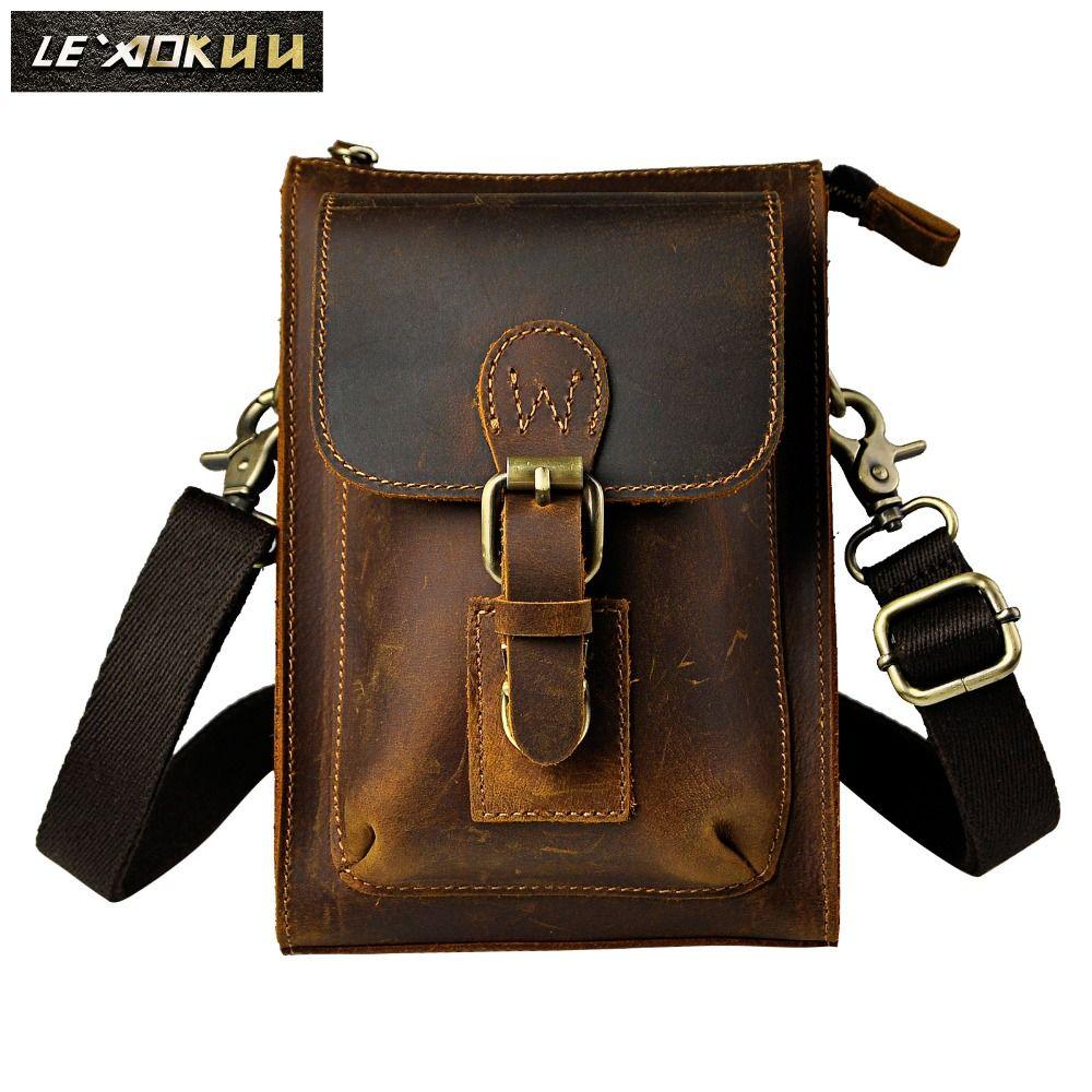 Echtes Leder Männer Casual Design Kleine Messenger Schulter Crossbody Hüftgurt Tasche Handytasche 6402