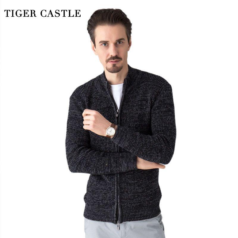 TIGRE CHÂTEAU Hommes De Mode Pull En Laine Mâle Tricoté Cardigan De Mode Mens Chandails Printemps Automne Loisirs Chandail pour Hommes