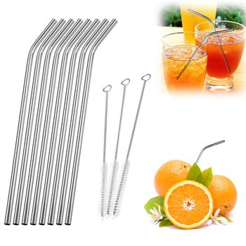 1/4/6/8Pcs/lot Reusable Drinking Straw Stainless Steel Metal Straw with 1/2/3 Cleaner Brush For Home Party Barware Accessories