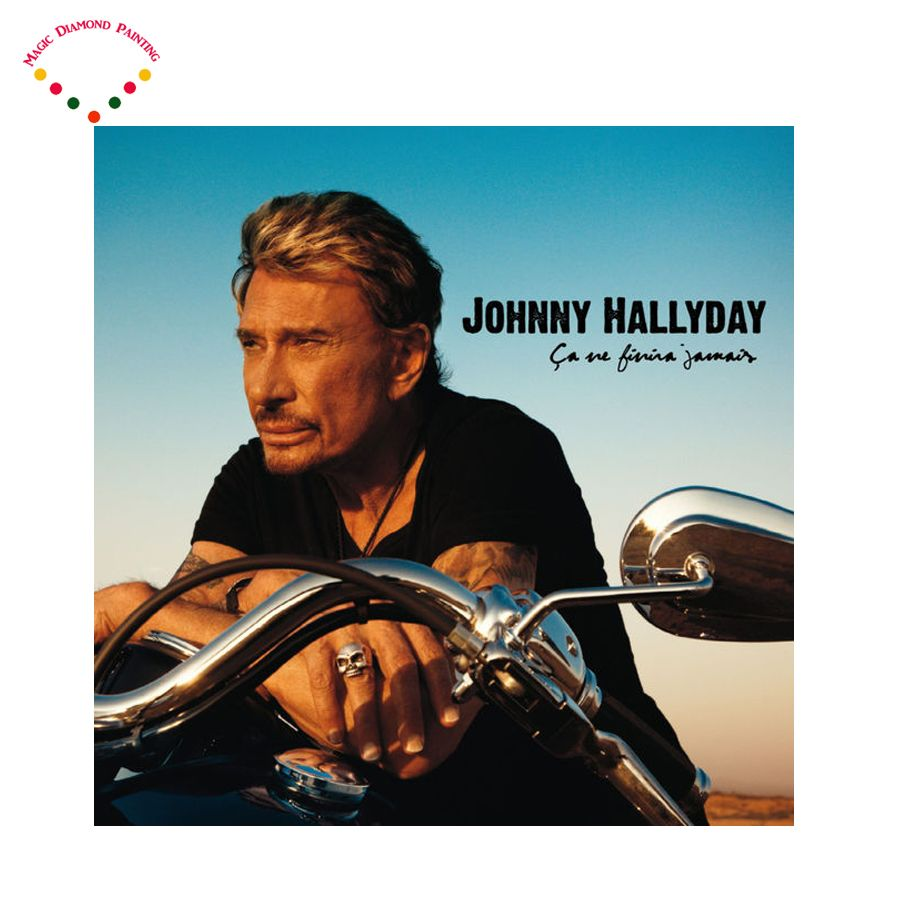 Diamant peinture Superstar chanteur point de croix ronde Strass broderie en plastique craftsFull diamant peinture johnny hallyday