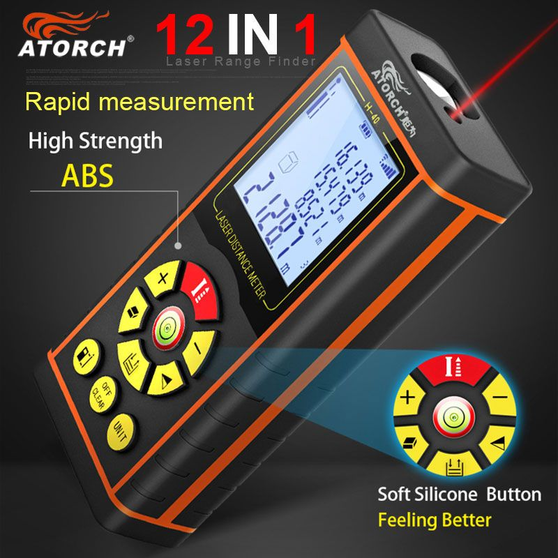 100M Digital Laser Distance Meter Laser Rangefinder Optical Tape Range Finder Diastimeter building Measure Roulette Atorch
