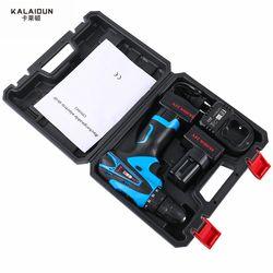 KALAIDUN 25 V Perceuse Électrique Outils Électriques Tournevis Électrique Au Lithium 2 * Batterie Sans Fil Perceuse à Percussion Avec Supplémentaire Boîte À Outils