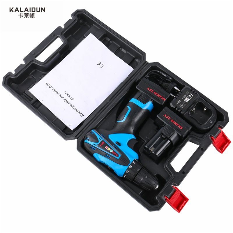 KALAIDUN 25V Electric Drill Power Tools Electric Screwdriver Lithium 2*Battery Cordless Impact Drill With Extra Toolbox