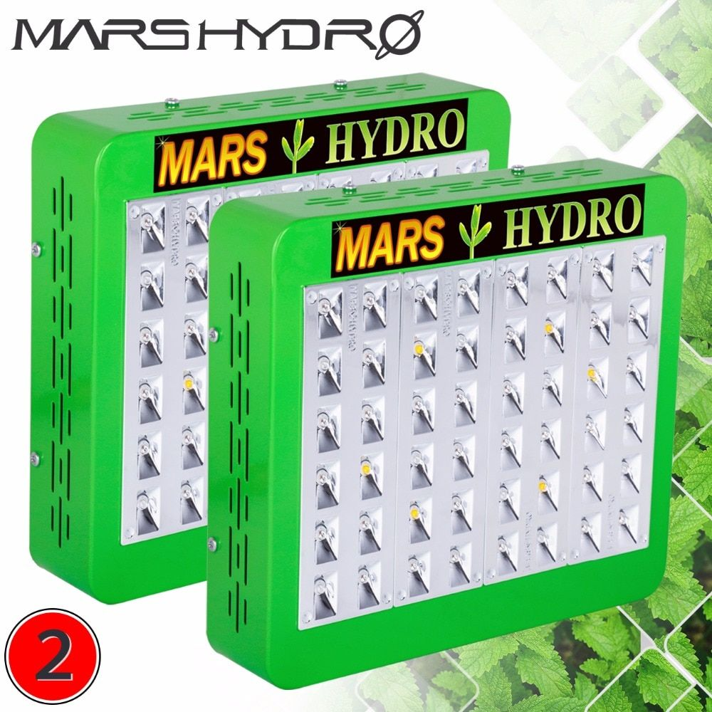 2pcs Mars Hydro LED Grow Light Reflector240W Full Spectrum Switches+Reflector Design With IR Indoor Planting Panel