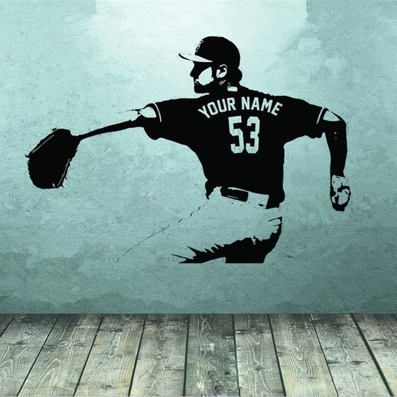 Baseball player Wall art Decal <font><b>sticker</b></font> Choose Name number personalized home decor Wall <font><b>Stickers</b></font> For Kids Room Boy Bedroom A186