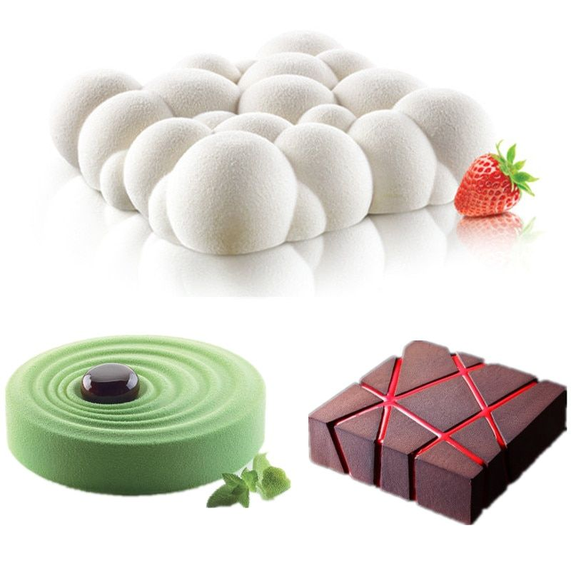 3PCS <font><b>Grid</b></font> Block Clouds Ripple 3D Mousse Cake Moulds For Ice Creams Chocolates Cake Mold Pan Bakeware Geometric shapes