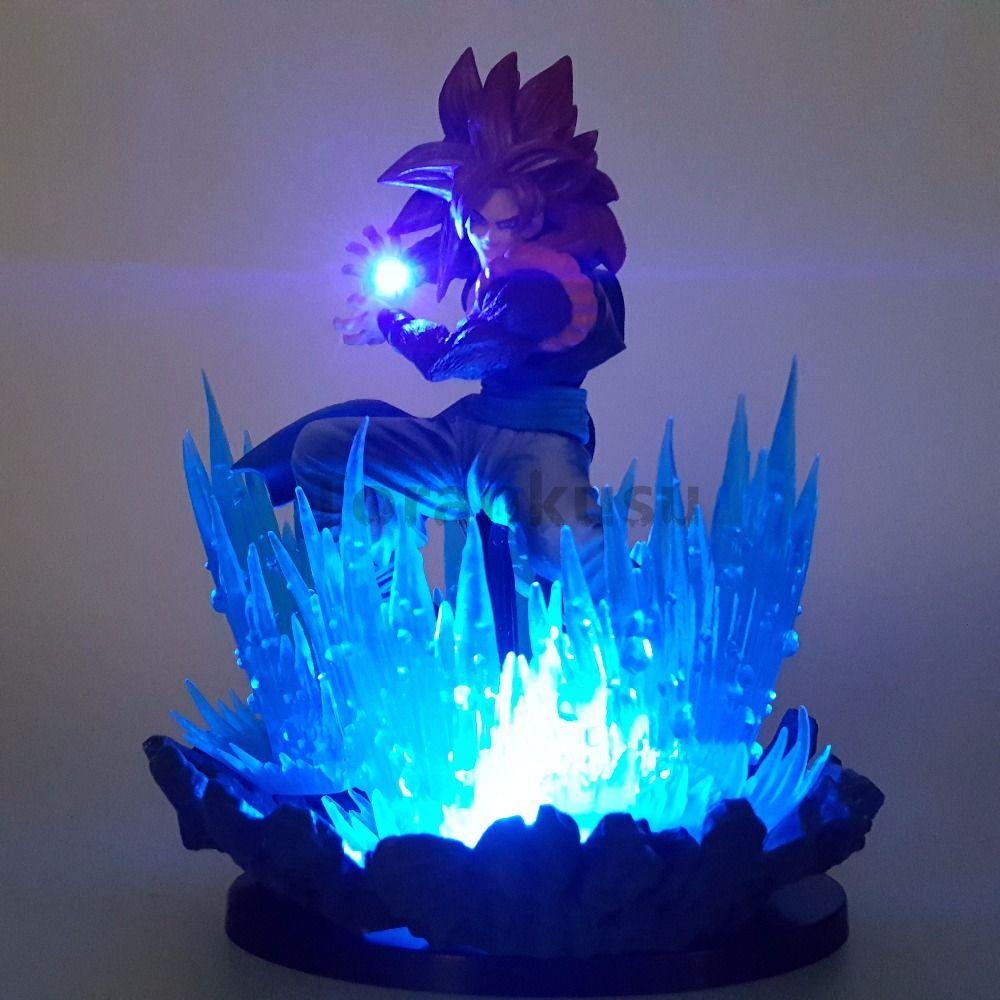 Dragon Ball Z Action Figures Goku Super Saiyan 4 Led Lights Scene Anime Dragon Ball Super Goku Gohan Figurine Model Toy DBZ
