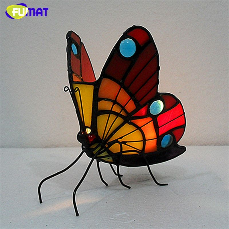 FUMAT Night Light Night Lamp Butterfly Stained Glass Candle Holder Atmosphere Light for Living Room Bedroom Indoor Lighting
