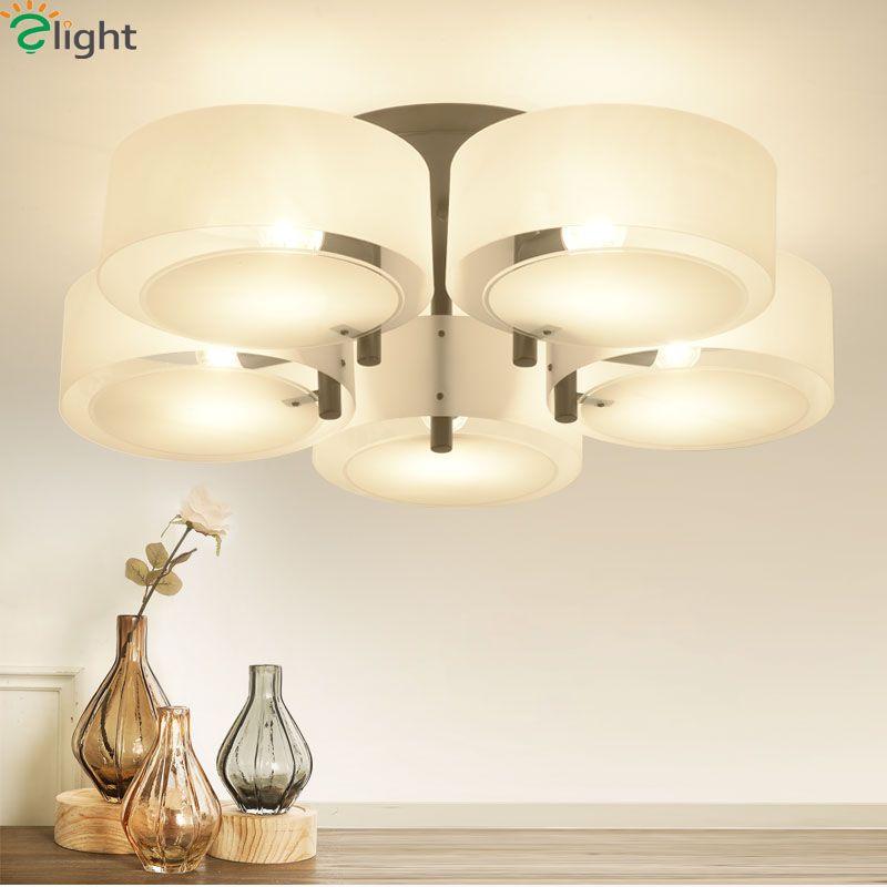 Moderno simple MULT Anillos techo Candelabros lámpara lustre acrílico cromo metal comedor LED lámpara Iluminación luces