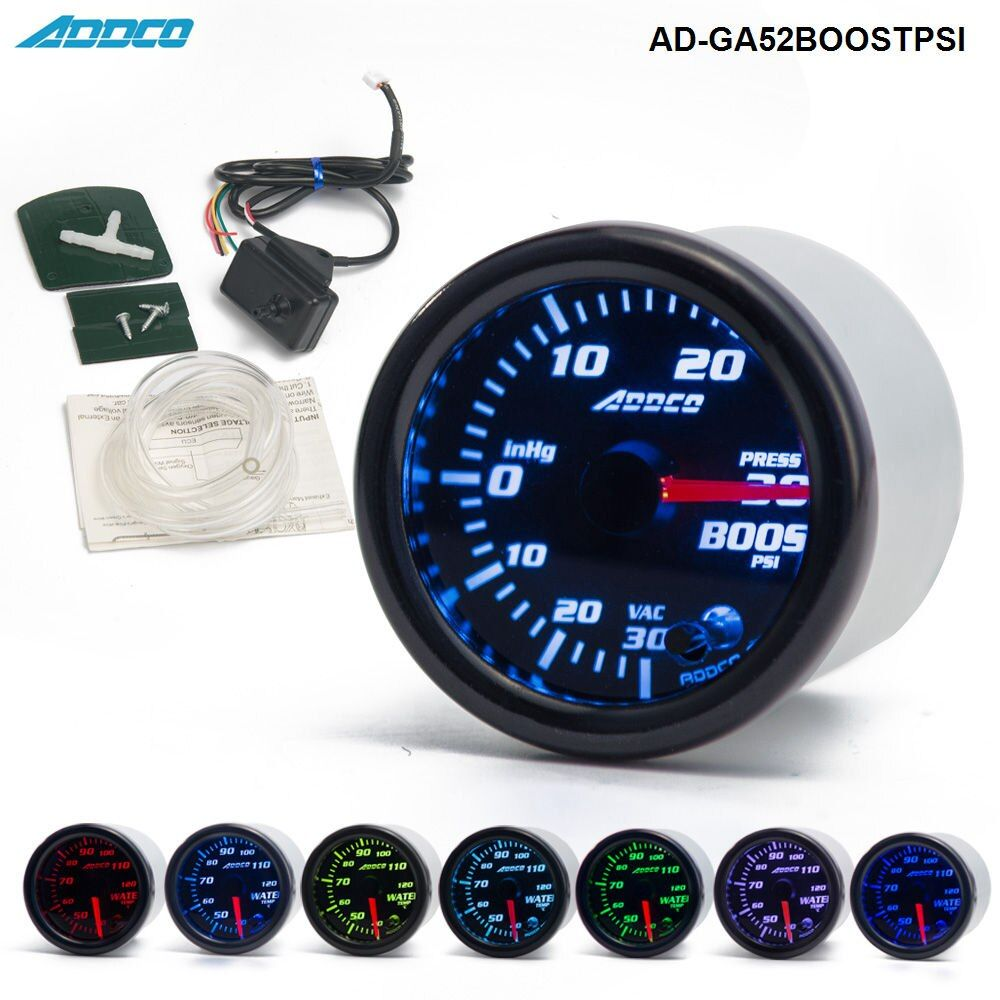 Car Auto 12V 52mm/2 7 Colors Universal PSI Turbo Boost Gauge LED With Sensor and Holder AD-GA52BOOSTPSI