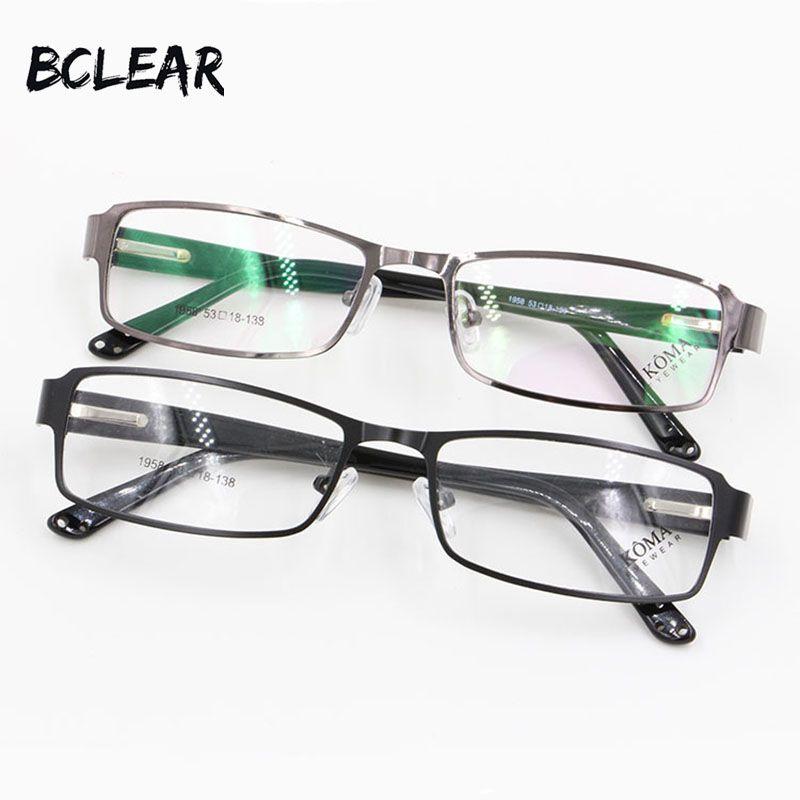 BCLEAR Plus Mode Plein Jante Alliage Montures de lunettes Printemps Charnière Port Confortable Hommes Lunettes Acétate Jambes Carré Optique