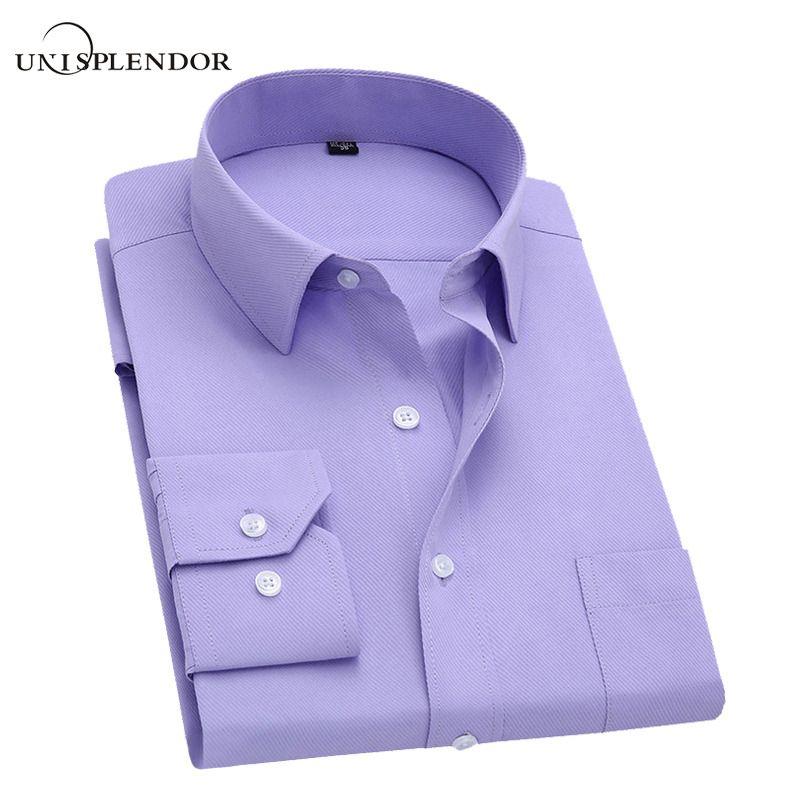 2018 Men Dress Shirt Long Sleeve Slim Brand Man Shirts Designer High <font><b>Quality</b></font> Solid Male Clothing Fit Business Shirts 4XL YN045