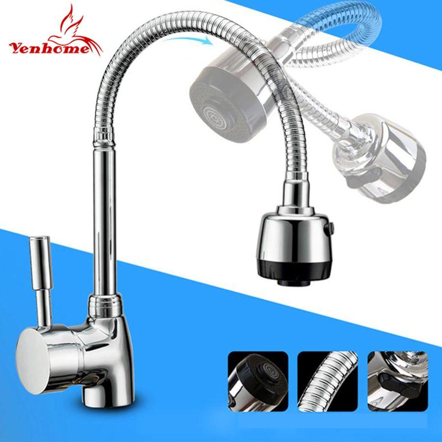 Robinet mitigeur en laiton massif robinet de cuisine à eau froide et chaude robinet d'évier de cuisine monotrou multifonction 360 robinets rotatifs tuyau de souhait