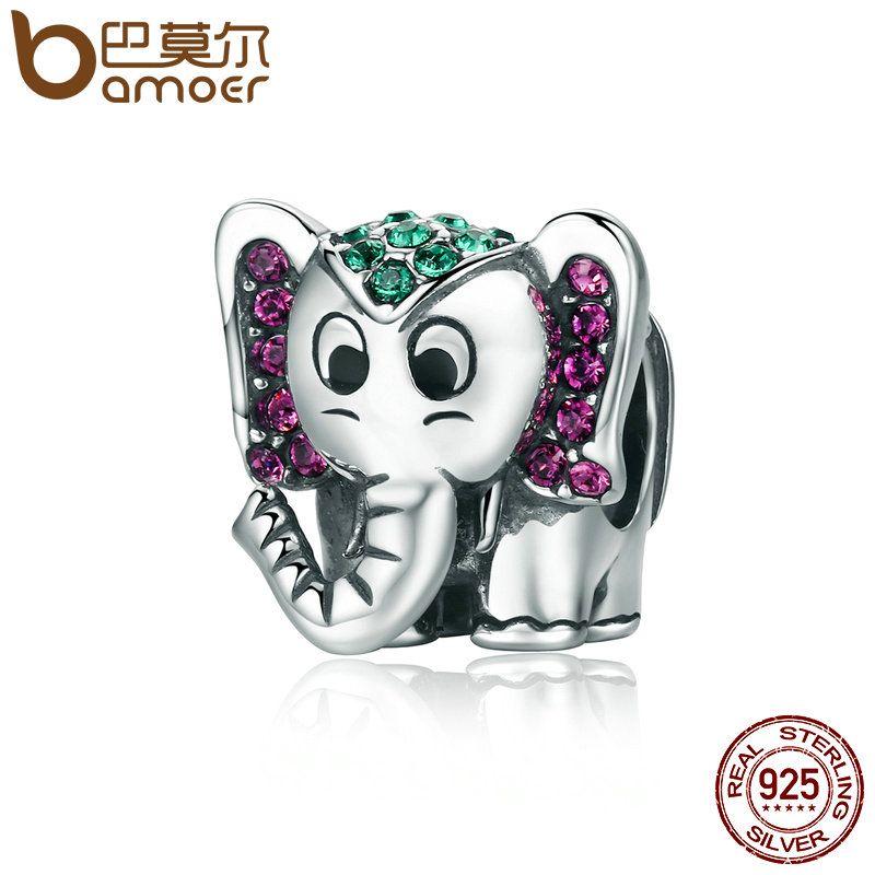 BAMOER Fashion 100% 925 Sterling Silver Lucky Elephant Sparkling CZ Animal Beads fit Women Charm Bracelet Jewelry Gift SCC200