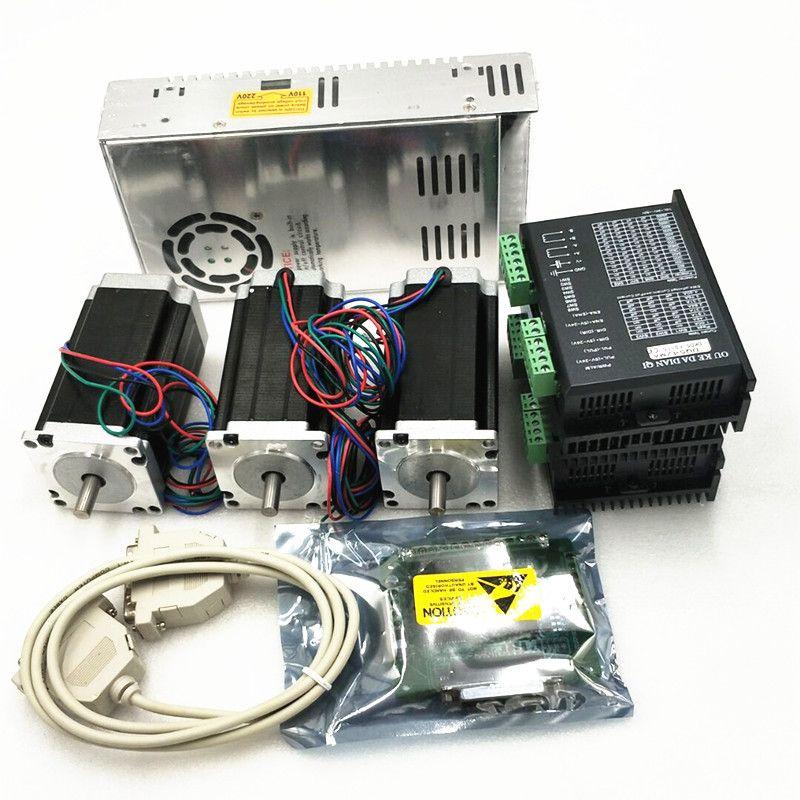 4 axis Nema23 schrittmotor unzen-in 3A 23HS9430 + 4 Fahrer DM542 + 2 STÜCKE Stromversorgung für 350 Watt, 36VDC + 1 DB25 CNC controller kit