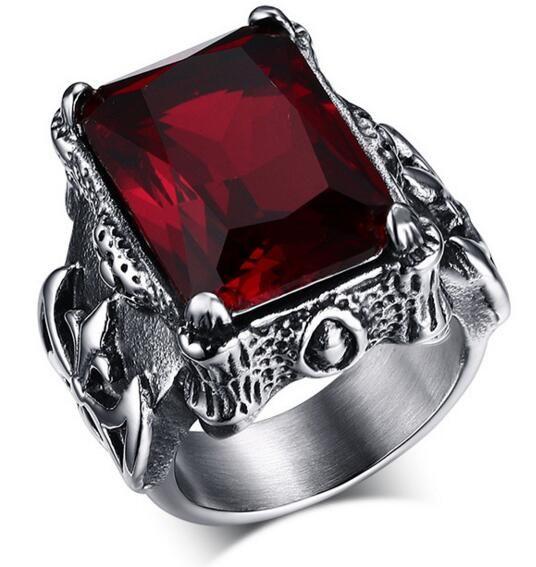 Mode rétro bijoux en acier inoxydable 316l avec Imitation pierres précieuses anneaux pour hommes pierre naturelle bijoux hommes anneaux Anel