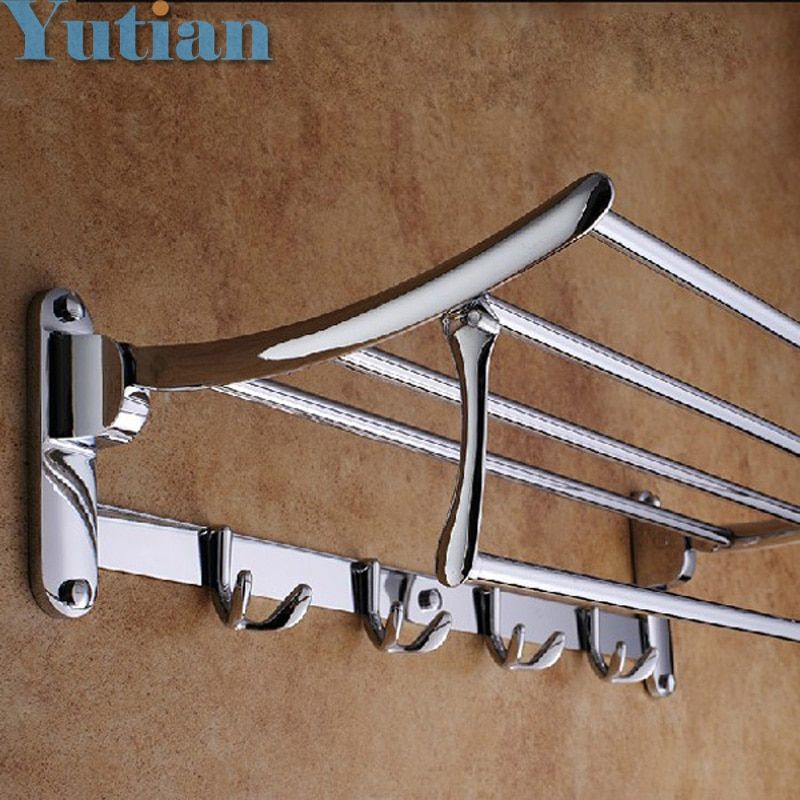 HOT SELLING, FREE SHIPPING, Bathroom towel holder, Foldable towel rack,50cm Stainless steel towel rack with hooks