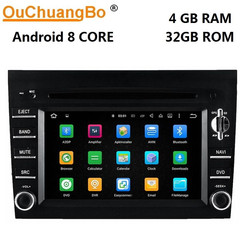 Ouchuangbo 8 core android 9.0 auto dvd gps navigation radio für BOXTER CAYMAN 911 997 mit Bluetooth 1080P video 4GB + 32GB