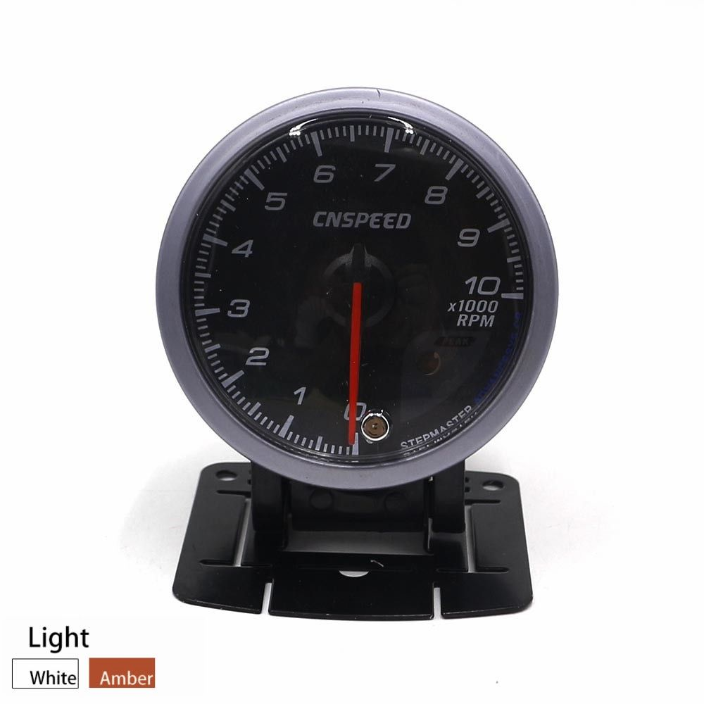 CNSPEED 60MM Car Auto Tachometer 0-10000 RPM Gauge RPM Black Face Meter With White & Amber Lighting Car meter/Auto Gauge