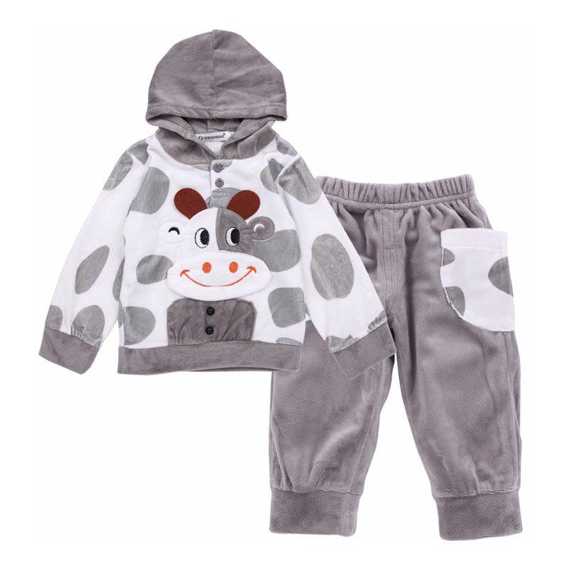 Enfant fille vêtements garçon bébé enfant en bas âge printemps et automne plus velours veste chaude pantalon costume dessin animé modélisation 1-7 ans vêtements pour enfants