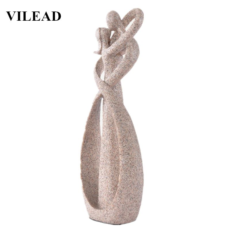 VILEAD 9 Inch Sandstone Kiss Lover Figurines Wedding Decoration Anniversary Souvenirs Vintage Home Decor New Year Christmas Gift