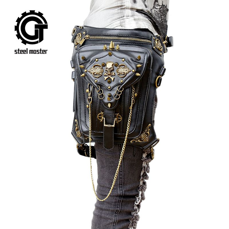 Fashion Gothic Steampunk Skull Retro Rock Bag Men Women Waist Bag Shoulder Bag Phone Case Holder Vintage Leather <font><b>Messenger</b></font> Bag