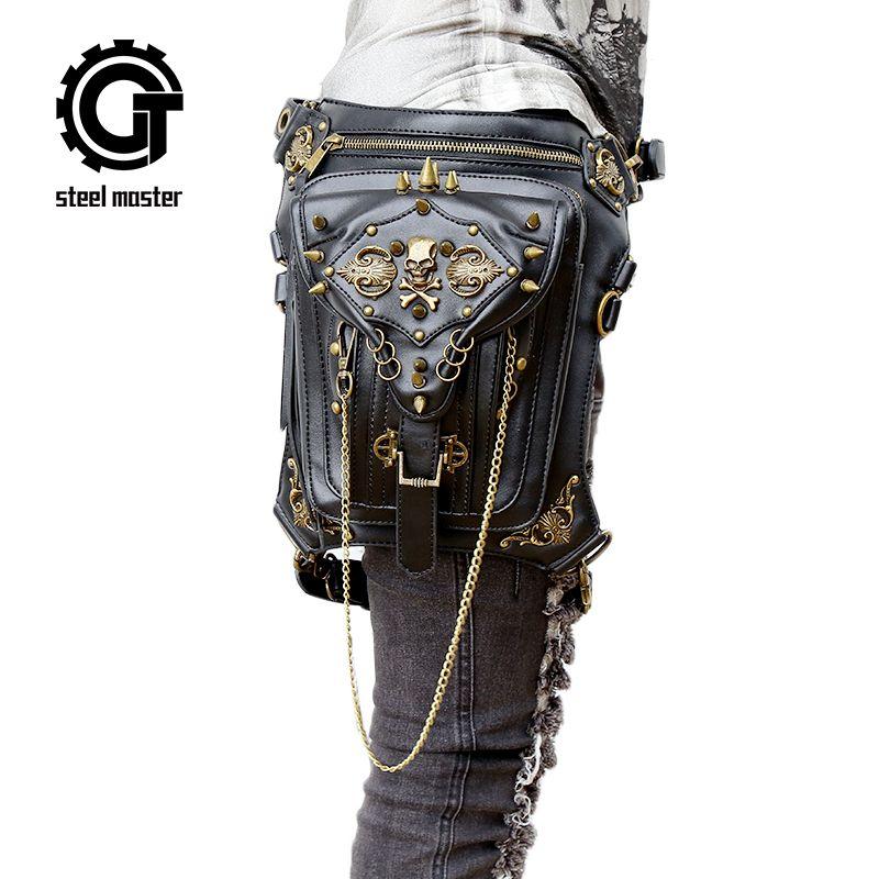 Fashion Gothic Steampunk Skull <font><b>Retro</b></font> Rock Bag Men Women Waist Bag Shoulder Bag Phone Case Holder Vintage Leather Messenger Bag