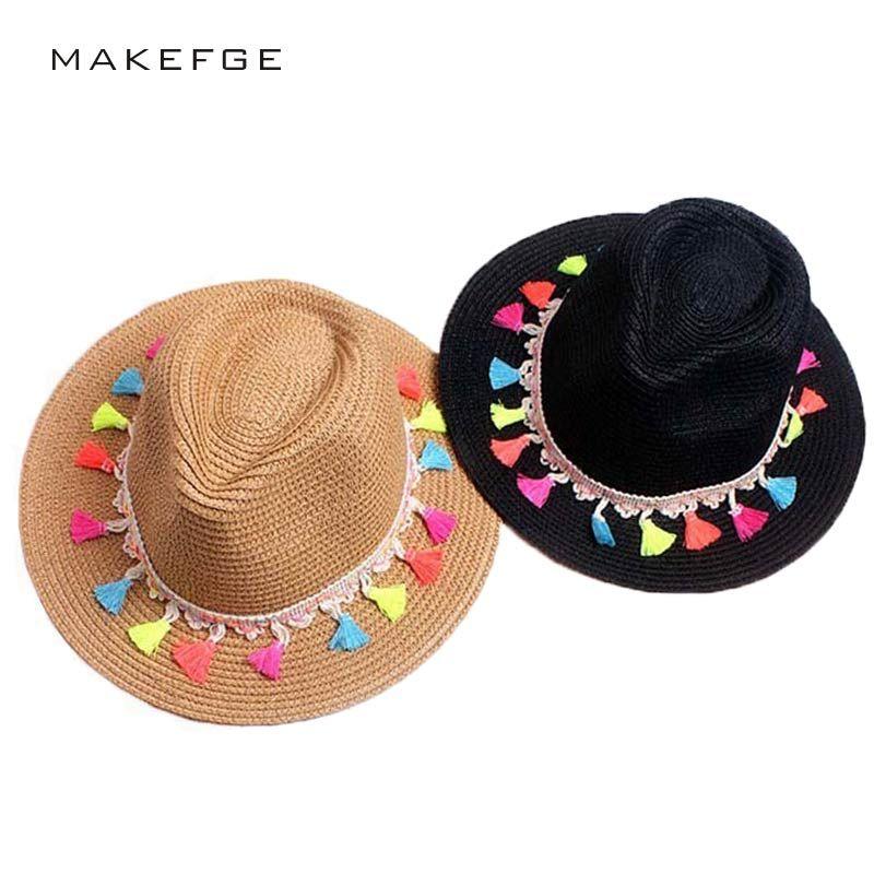 2017 femme été plage chapeau de soleil de mode bonbons bord fraise jazz panaman chapeau plage chapeau de soleil Fedora Trilby noir et blanc chapeau