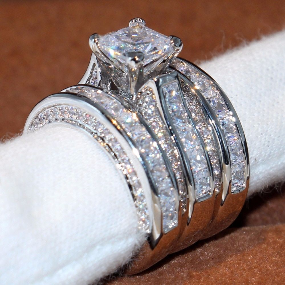 2017 Top Verkauf Luxus Schmuck 14KT Weißes Gold Füllte Prinzessin Cut 5A Klar CZ Zirkonia Partei Frauen Hochzeit 3 stücke Ring Set Geschenk