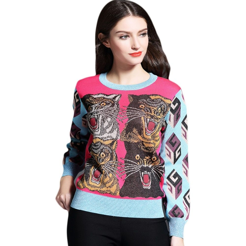Brand Winter Tiger Sweater Women Patchwork Knitted Sweaters Pullovers Fashion Long Sleeve O-neck Warm Wool Blends Sweater Pink