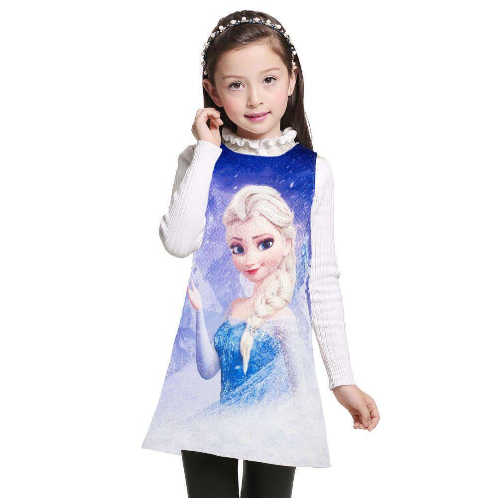 Enfants Filles Elsa Anna Princesse Robes Sans Manches Formelle Enfants Fille Robes Robe De Soirée Adolescents Robes Enfants Costume d'été