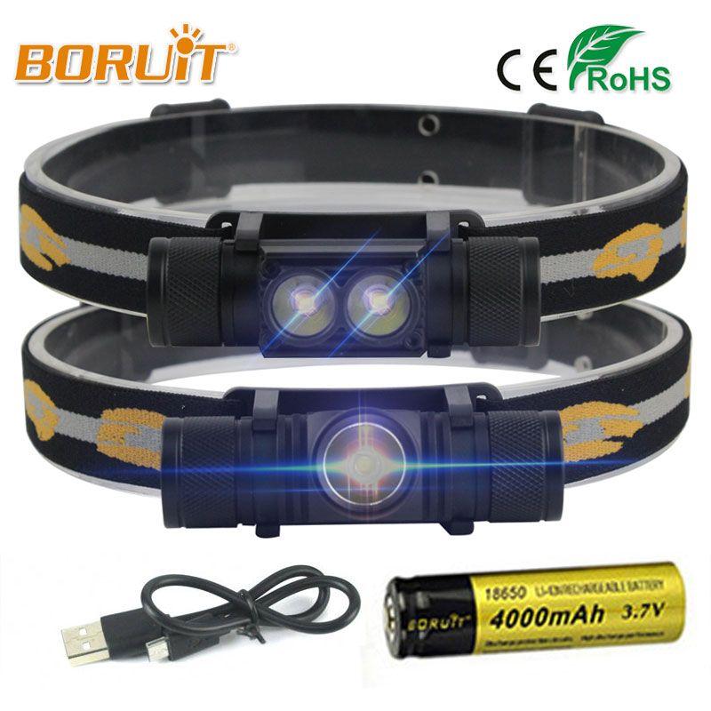 BORUIT Marque 1000LM 3 W L2 LED Phare Mini Lumière Blanche Lampe Frontale lampe de Poche 18650 Batterie Projecteur Pour Camping Pêche chasse