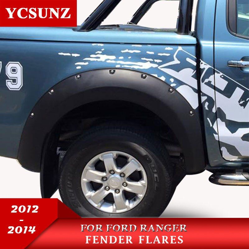 2012-2014 Fender Flare For Ford Ranger T6 Accessories Black Color Mudguards For Ford Ranger 2012 2013 2014 Car Flares Ycsunz
