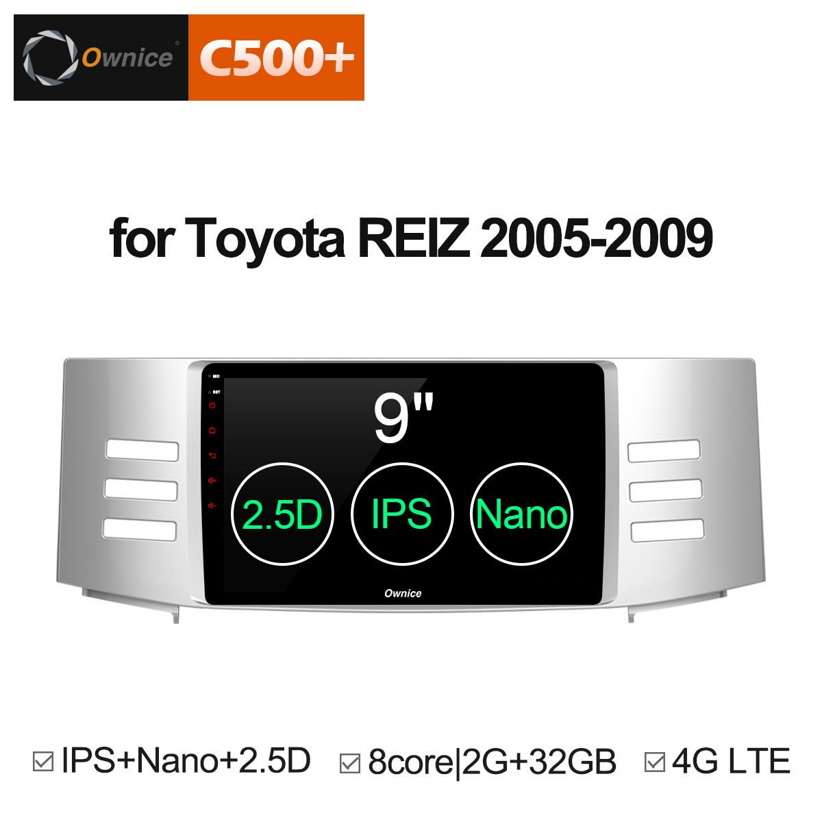 Ownice C500 + G10 Android 8.1 8 Core Auto GPS Navi Für Toyota Reiz Mark X 2005 2006 2007 2008 2009 radio DVD-Player 4g SIM Karte