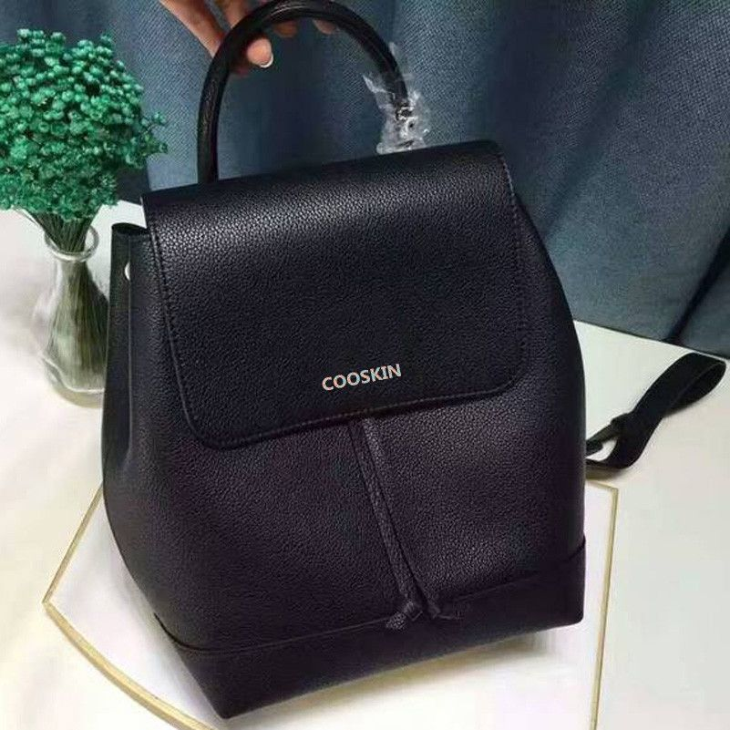 COOSKIN Lightweight Soft and lively lady Genuine Leather LOCKME backpack Women's favorite backpack free shipping