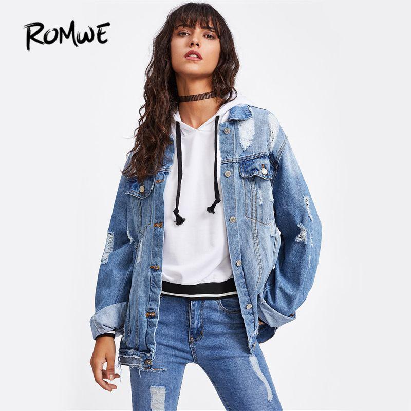 ROMWE Ripped Denim Jacket Coat Punk Style Women Bleach Wash Single Breasted Jean Jackets 2018 Casual Long Sleeve Lapel Jacket