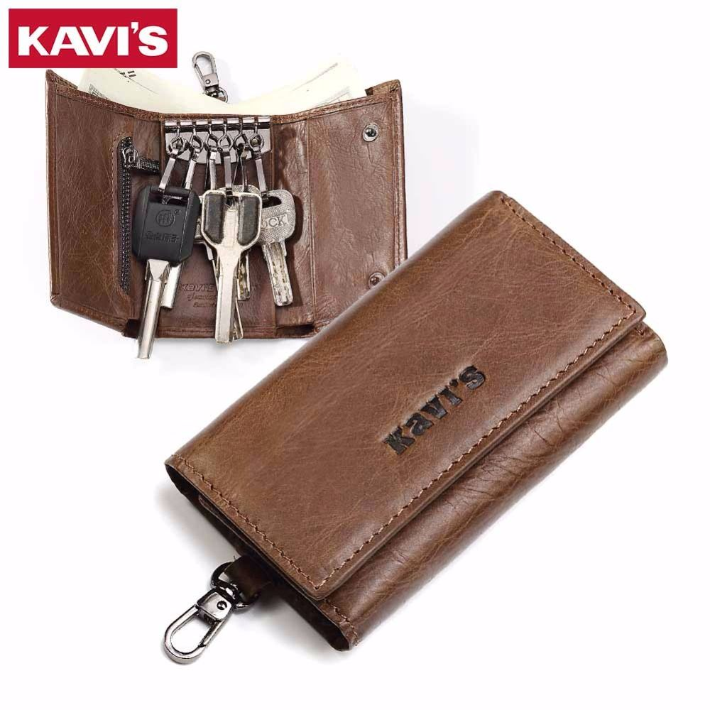 KAVIS Genuine Leather Housekeeper Key Wallet Man Ring Case Holder Smart Organizer Bag Coin Pocket Keychain Pouch Purse Wrap For